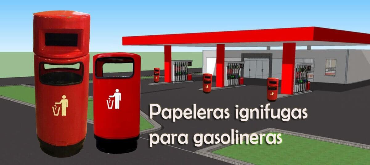 Papeleras ignifugas gasolinera